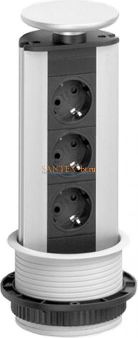 Встраиваемый модуль электрических розеток EVOLINE Port Standart 931.00.001 серебристый пластик