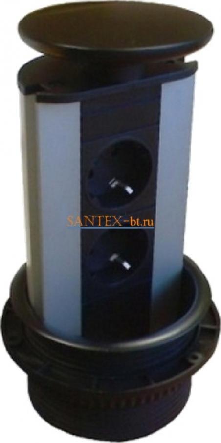 Встраиваемый модуль электрических розеток EVOLINE Port Standart 931.00.052 черный пластик