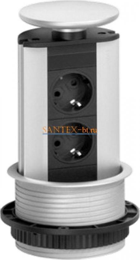 Встраиваемый модуль электрических розеток EVOLINE Port Standart 931.00.033 серебристый пластик