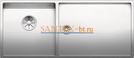 Мойка BLANCO CLARON 400/550-Т-U чаша слева, нержавеющая сталь зеркальная полировка