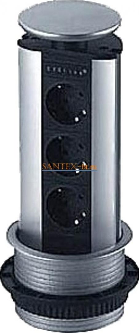 Встраиваемый модуль электрических розеток EVOLINE Port Standart 931.00.006 серебристый пластик