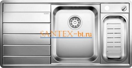 Мойка BLANCO AXIS 6 II S-IF с клапаном-автоматом, чаша справа, нержавеющая сталь зеркальная полировка