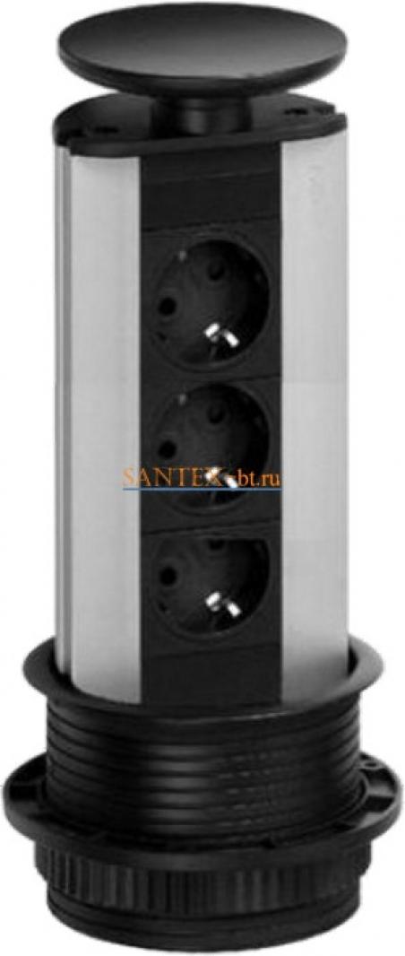 Встраиваемый модуль электрических розеток EVOLINE Port Standart 931.00.050 черный пластик